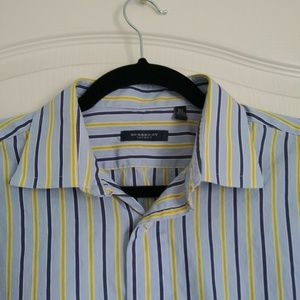 Burberry Shirt 16.5 Dress Mens Button Front Stripe
